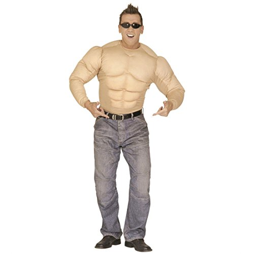 NET TOYS Herren Muskel Kostüm Bodybuilder Muskelshirt Kostüme Muskelkostüm Muskelshirt Muskelprotz Gr L 50/52