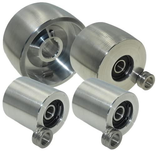 (AL4-24) CNC gefrästes Riemenschleifer Set für Messerschleifer 100mm Antrieb-24mm Schaft 75mm Spur 50mm Idler