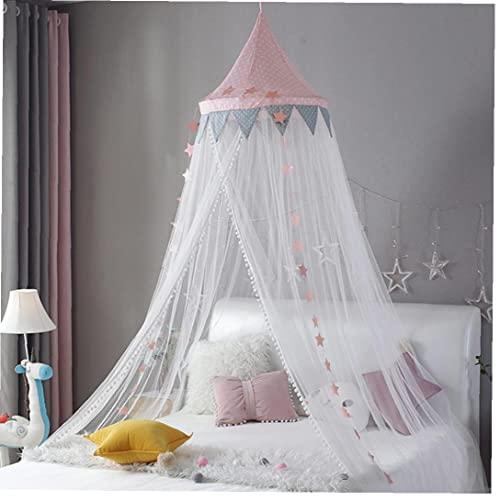 Cama con Dosel poliéster cúpula Colgando Tiendas de Mosquitos de mosquitero con decoración de Estrellas Cortinas de Cama Transpirables para niños Habitación Rosa