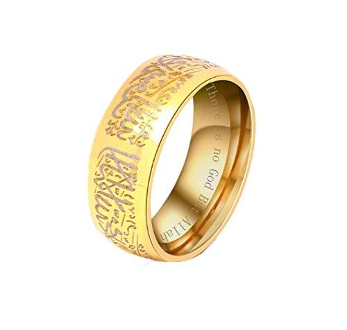 YAZILIND Anillos de Acero de Titanio Color Oro Letras islámicas Banda Anillo musulmán Multi tamaño Opcional tamaño 19, 5