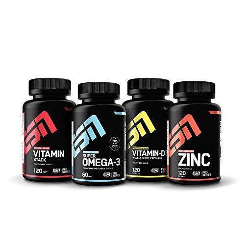 ESN 4er Pack Vitamine & Vitalstoffe – hochwertige Nahrungsergänzung – 4 natürliche Vitaminpräparate mit Zink, Omega 3, Vitamin D3 & Vitamin Stack Multivitamin – Für einen gesunden Lifestyle