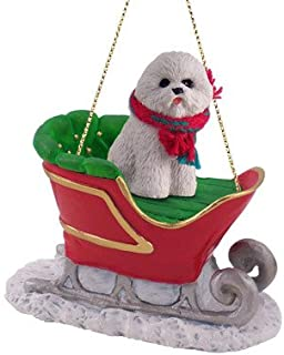 Bichon Frise Dog in Sleigh Christmas Ornament New