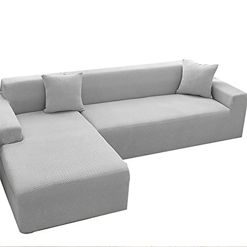 NOPEXTO Copridivano con Penisola Elasticizzato Chaise Longue Sofa Cover Componibile in Poliestere A Forma di L Copridivano Angolare (L 2+3 Posti,Grigio Blu)