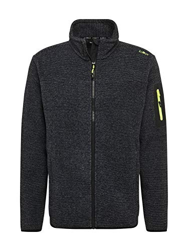 CMP Herren Strickfleecejacke Jacquard Knitted Fleecejacke, Antracite-Grey-Yellow Fluo, 48