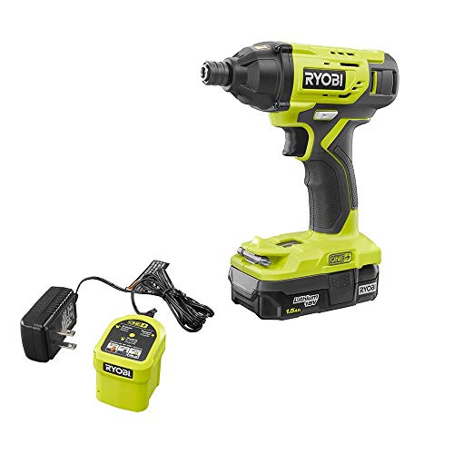 Ryobi One+ 18 Volt Cordless 1/4 in. Impact Driver Kit, Includes 1.5Ah Battery and Charger
