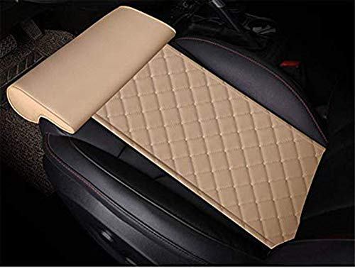 YQJ Car seat Extender Cushion Leg Support Pillow?Pillow for car Driver seat?Chair Leg Extenders?Leather Knee Pads Long-Distance Driving car Bus Train Office Home Leg Cushion (Beige)