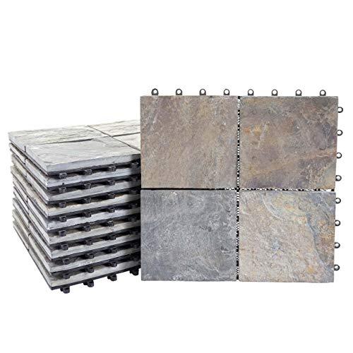 Mendler Steinfliese HWC-E18, Bodenfliese Steckfliese Balkon/Terrasse Naturstein, 11x je 30x30cm = 1m² - Granit bunt