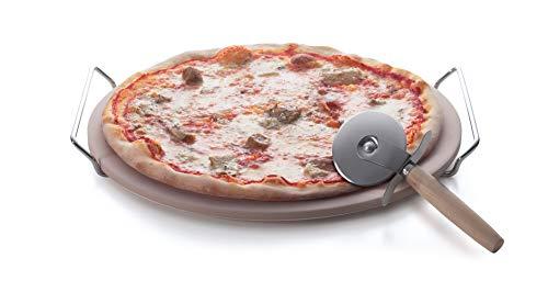Excelsa Nonsolopizza Pietra Refrattaria per Cottura Pizza con Tagliapizza, Acciaio Inossidabile, Naturale