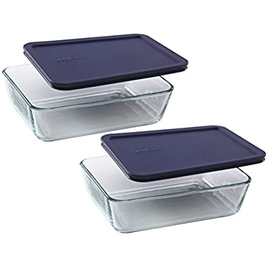 Pyrex Storage 6-Cup Rectangular Dish with Dark Blue Plastic Cover, Clear, Box of 2 Containers