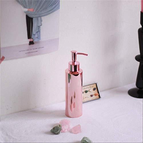 AMZIJ AufbewahrungsgläserNordic Bath Shampoo Aufbewahrungsflasche Chic Metal Organizer Bottle EinfacheDuschgel-Flüssigkeits-AufbewahrungsflascheRose 350ml PP-Abdeckung