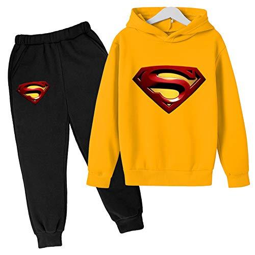 Proxiceen Sudadera con capucha de Superman Anime 3D Cosplay, manga larga, estampado gráfico y pantalón de jogging, sudadera con capucha A1. 150 cm