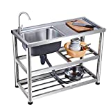 KITCHEN SINK Simple with Bracket, Commercial Stainless Steel...