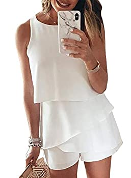 Dokotoo Women s Ladies Fashion 2020 Elegant Summer Casual Sexy Off Shoulder Halter Neck Ruffle Chiffon Sleeveless One Piece Short Rompers for Women Jumpsuits White S
