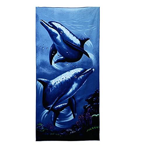 2 unids Azul Marino delfín patrón 3D Digital impresión Duradera Limpia baño Playa Hotel baño Toallas-C1
