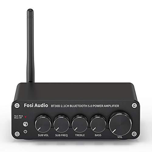 Fosi Audio BT30D Bluetooth 5.0 Stereo Audio Receiver Verstärker 2.1-Kanal Mini Hi-Fi Verstärker der Klasse D mit 50 Watt x2+100 Watt für Heim-Außen-Passiv-Lautsprecher/Subwoofer Aktiv-Subwoofer