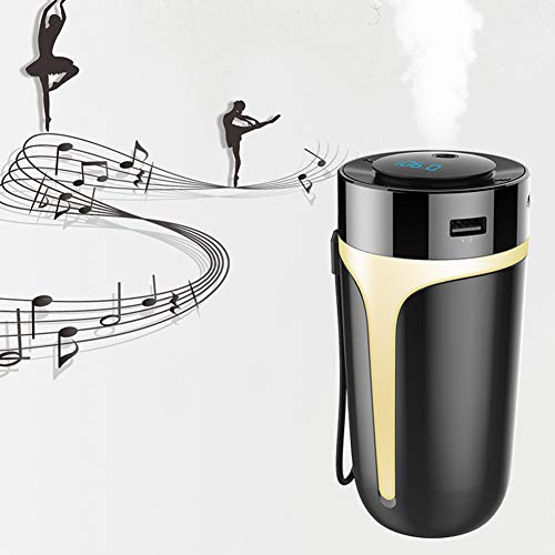 Humidificador ultrasónico EqWong, S10 Auto USB, purificador de aire Bluetooth 5.0 FM Transmisor, reproductor de música MP3, humidificador, difusor, habitaciones, silencioso,