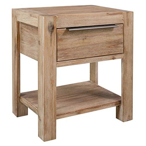 N/O Viel Spaß beim Einkaufen mit Nachttisch mit Schublade 40x30x48 cm Masivholz Akazie