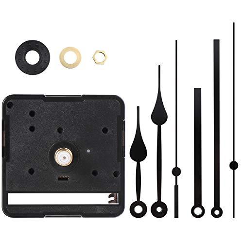 VOSAREA Lautloses Quarz-Uhrwerk, Uhrwerk für Wanduhr mit 3 Zeiger-Sets, Funk-Uhrwerk mit Uhrzeigerset zum Basteln, Schwarz, 2er-Set