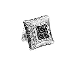 ctw Dazzlingrock Collection 0.08 Carat Only 1pc 14K Gold White Diamond Kite Shape Mens Hip Hop Iced Stud Earring