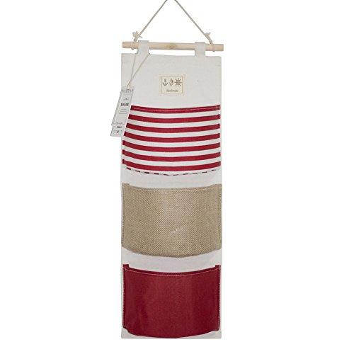 YOUOR Linen Cotton Fabric Wall Door Closet Hanging Storage Bag 3 Pockets Over the Door Organizer (Red)