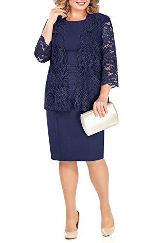 BABYONLINE D.R.E.S.S. Damen Kleider Mutter der Braut Hochzeit Knielang Abendkleider Elegant Navyblau, 46