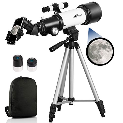 Telescopes for Adults, 70mm Aperture 400mm AZ Mount, Telescope for Kids Beginners, Fully Multi-Coated Optics, Astronomy Refractor Telescope Portable Telescope with Tripod, Phone Adapter, Backpack