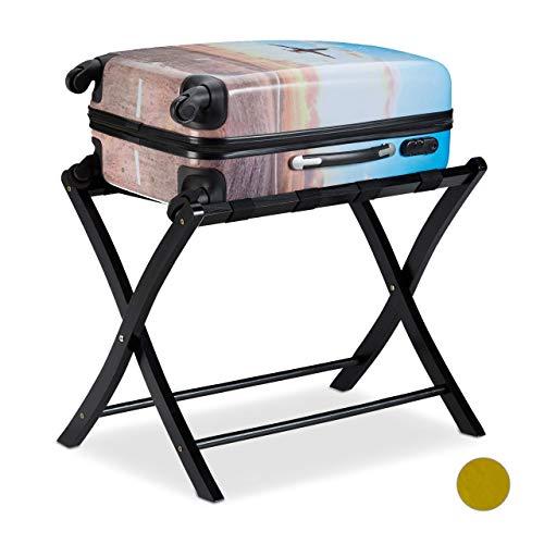Relaxdays Kofferständer Holz, klappbar, Gepäckablage, Kofferaufbewahrung, für Reisegepäck, HBT: 52,5x66,5x48 cm, schwarz