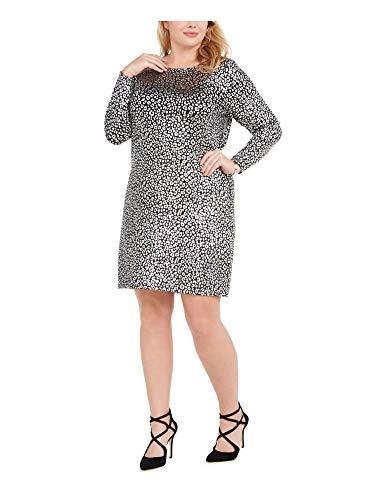 Michael Michael Kors Women's Metallic Leopard Print Cowl Neck Back Catty Foil Cocktail Dress, Black/Silver (1X...