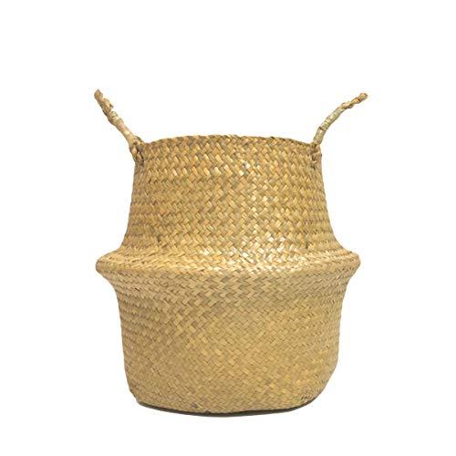 Yardwe Cesta de Almacenamiento de Paja Plegable Cesta de Mimbre de Flor Canasta Hecho a Mano (Amarillo S)