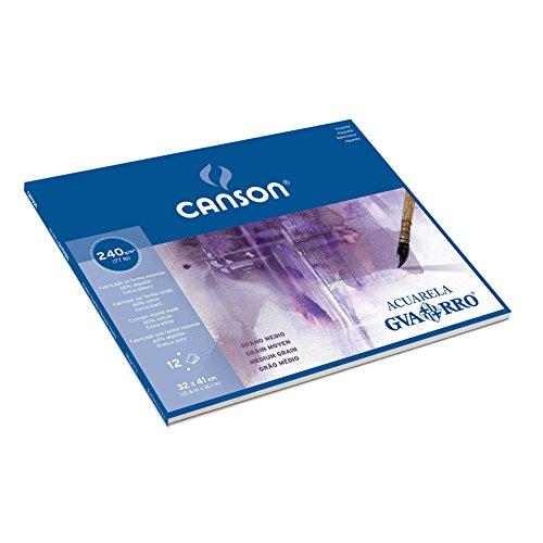 Canson Guarro Papel para acuarela, 1parte (grano medio, 240g, 12hojas color blanco), color blanco 32 x 41 cm