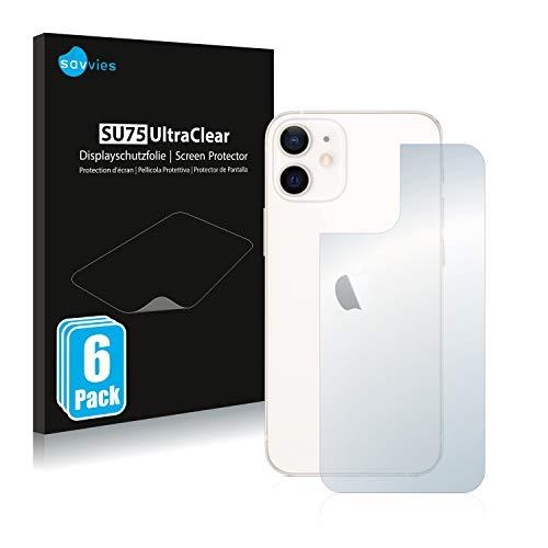 Savvies 6X Schutzfolie kompatibel mit Apple iPhone 12 Mini (Rückseite) Displayschutz-Folie Ultra-transparent
