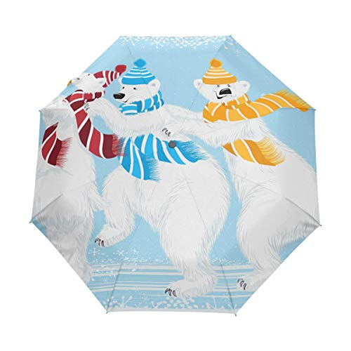 DEZIRO - Paraguas con Tres Osos Polares Plegables para Exteriores, Apertura automática,...