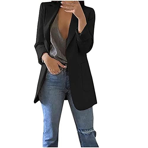Blazer - Chaqueta elegante blazer de manga larga para mujer, de un solo color, para verano, con bolsillo, chaqueta de punto para mujer, ligera, larga, deportiva, Negro , XXXXL