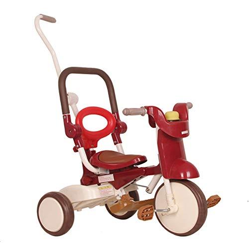 HYRL Triciclo Plegable del bebé, los niños pequeños Tricycle Indoor de la Mosca al Aire Libre de la Bici del niño 3 Rueda Plegable Paseo en el Juguete,Red