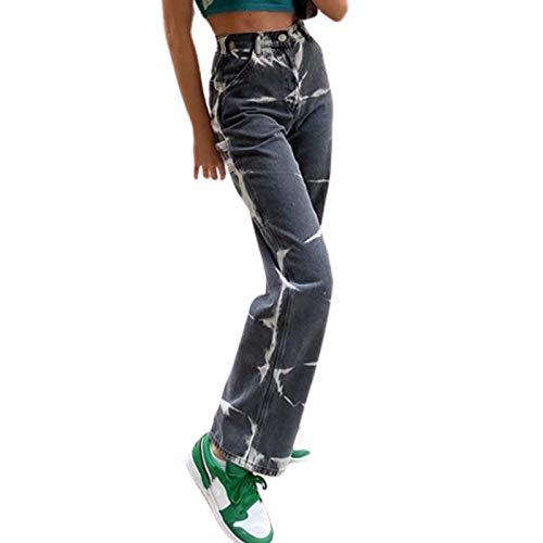 Lunaer Casual Patchwork Jeans für Frauen Hoch Tailliert Y2K Baggy Jeanshosen Hose mit Weitem Bein Vintage Druck Denim Jeans Gerade Hose Streetwear