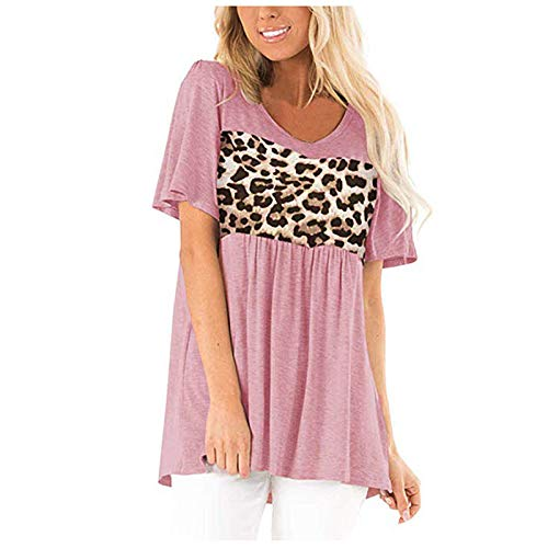 Camisa de Mujer Europea y Americana Sexy Talla Grande Suelta Estampado de Leopardo Costura Camiseta de Manga...