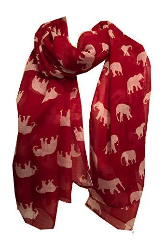 Pamper Yourself Now Damen Schal Elefant Animal Print Schal Geschenk, Damen, rot/weiß, 100cm X 185cm