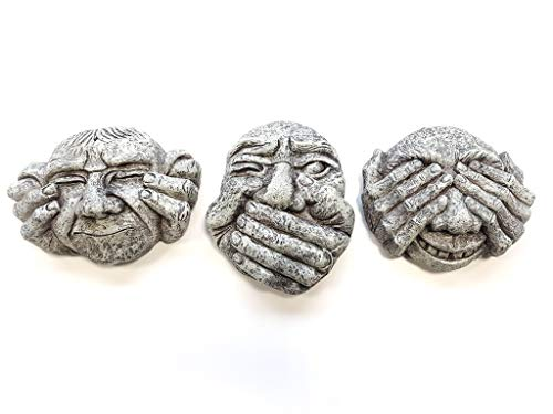 Garden Mile 3pc Stone Effect Gargoyle Garden Wall and Fence Hanging Ornaments - Hear No Evil, See No Evil, Speak No Evil Trio - Decorative Garden Art