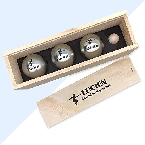 Kdo Magic - Boule de pétanque personnalisée - Coffret cadeau gravé avec un prénom - Triplette en acier personnalisable - Lot de 3 boules et 1 cochonnet (Joueur de pétanque)