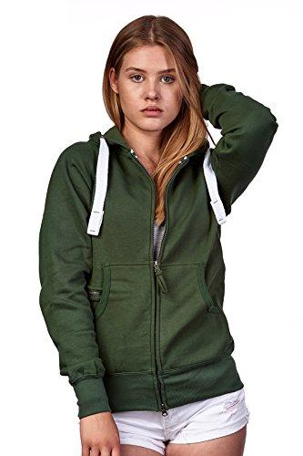 Happy Clothing Damen Sweatjacke mit Kapuze Zip Hoodie Kapuzenjacke Basic Einfarbig S M L, Größe:M, Farbe:Grün