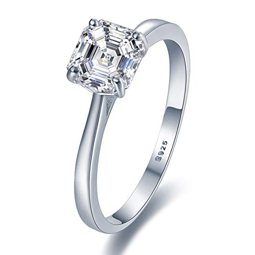 Stunning Sterling Silver Solitaire Engagement Ring With Diamond Look Cubic Zirconia (N)