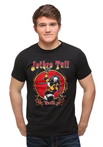 Impact Merchandising Jethro Tull Tour '75 Camiseta masculina de modelagem justa, Preto, Small