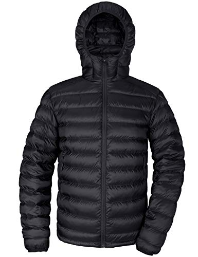 Men's Hooded Packable Down Jacket Lightweight Quilted Puffer Insulated Winter Coat Outerwear Black M