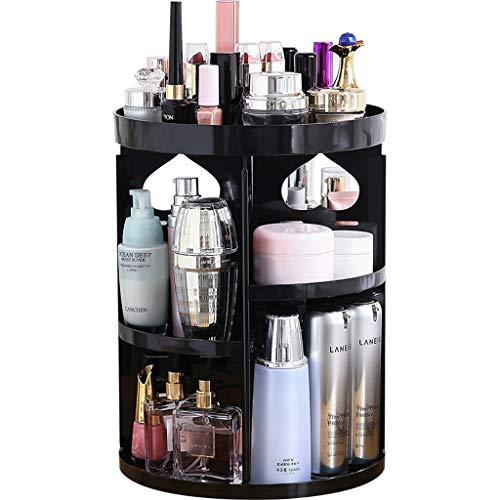 Yxsd Organisateur de Maquillage Rotatif, boîte de présentoir de parfums cosmétiques de Bijoux réglables, Organisateur de cosmétiques acryliques de Grande capacité, Noir