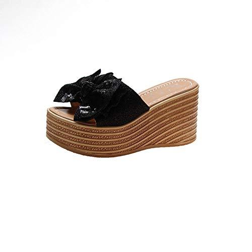 ypyrhh Sommer Slip On Memory Foam,Erhöhte Flip-Flops,Sandalen mit Schrägabsatz und Pantoffeln - schwarz_37,Perfekte 10 Open Toe Sandalen,