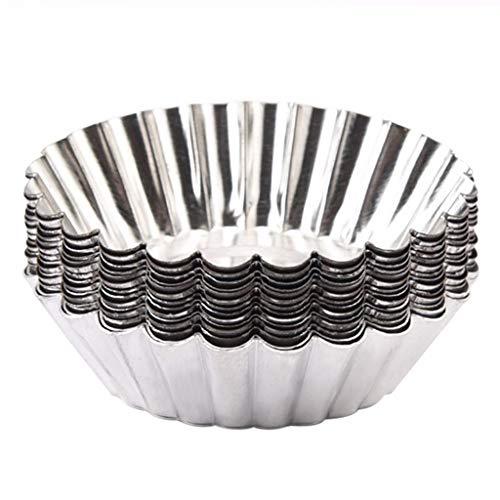 CUEYU Tarte aux Oeufs Moule - Lot de 50 moules à Tarte circulaires jetables pour la Cuisine (argenté),Papier D'aluminium Jetable Cuisson Oeuf Pan Cupcake Cas Moule