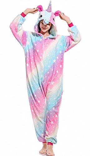 Unisex Einhorn-Schlafanzug, Einteiler, für Halloween, Cosplay, Kostüm Gr. Large, Stern 3