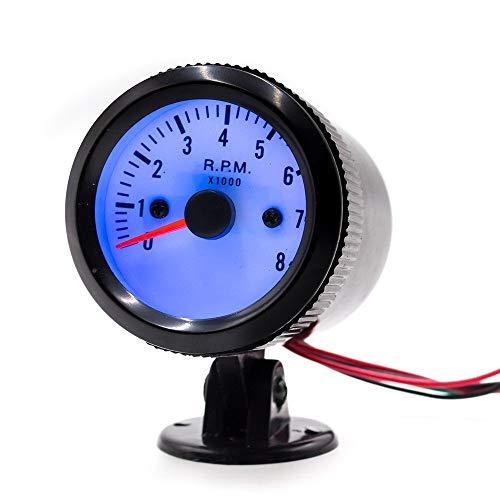 No-branded Odometer Spur 2 '' 52mm Auto-Motor-Tachometer-Zeigermessgerät Meter 0-8000RPM Auto-Zubehör LED DC 12V ZHQHYQHHX