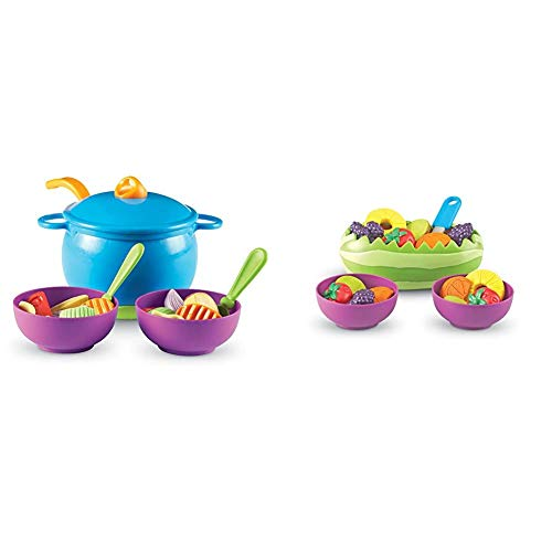 Learning Resources New Sprouts Soup's On!, 23 Pieces,Multicolor,5' & New Sprouts Fresh Fruit Salad Set, Pretend Play Food, 18 Piece Set, Ages 18 mos+,Multi-Color,5'