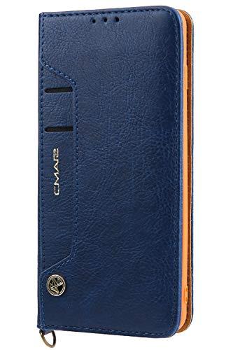 Handytasche Compatible with Samsung Galaxy S10 Plus +,Kunst Leder Case Handyhülle Flip Case mit Kredit Karten Hülle Geldklammer Unsichtbar Magnet und Stand Funktion Schutzhülle,Blau